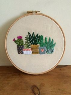 Cactus Embroidery Hoop Art / Succulents / Hand Embroidery / Gift for the Home…
