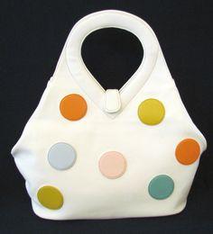 1950s 60s MOD DOBBIES BAGS HANDBAG WHITE COLORED DOTS