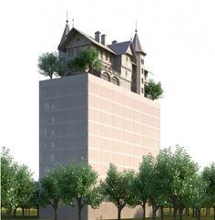 """Le projet d'hôtel que Philippe Starck a conçu pour le quartier de l'Amphithéâtre à Metz arbore une surprenant """"maison sur le toit""""."""