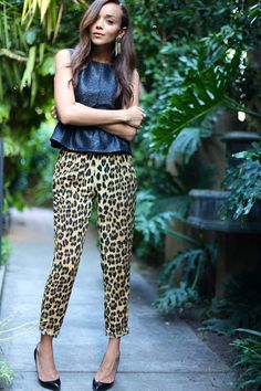Every girl needs a plain black pump to pair with animal-print pants, like Ashley Madekwe of Ring My Bell.Prints In Streetstyle. Animal Print Pants, Leopard Print Pants, Animal Prints, Leopard Coat, Leopard Skirt, Love Her Style, Style Me, Fashion Prints, Love Fashion