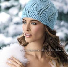 Красивая шапка ажурным узором спицами | Ажурные Узоры