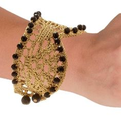 Handmade Crochet Knitted Gold Cuff Bracelet With Black Onyx - Anthos Crafts - 1