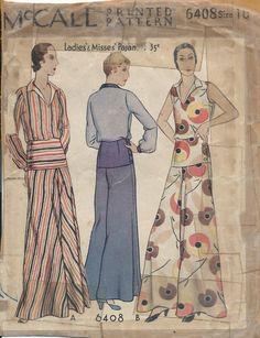 Vintage McCalls 1930's Ladies Lounging Pajamas Sewing Pattern Size 16 RARE | eBay