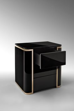 BLACK FENDI NIGHTSTAND   Black it's always an amazing option to make your master bedroom look modern and chic. With two drawers, this nightstand stands out for any master bedroom idea that you might need   http://masterbedroomideas.eu #luxuryfurniture #interiordesign #masterbedroomideas