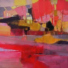 """""""The colorful river"""" cm oil on canvas Hervé LENOUVEL - www.art-et-avenir. Abstract Landscape Painting, Abstract Canvas Art, Landscape Art, Eyeliner Hacks, Abstract Expressionism, Artwork, Landscapes, Paintings, Modern Contemporary"""