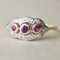 Art Deco Diamond  and Ruby Engagement Ring, Vintage 14k Gold Ruby & Diamond Ring, Approx.Size US 7.25. $398.00, via Etsy.