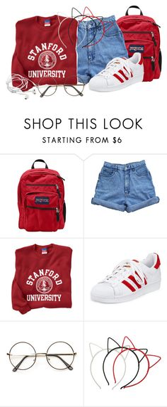 """""""-red-"""" by bandsvansandsodacans ❤ liked on Polyvore featuring JanSport, Bill Blass, adidas and ZeroUV"""