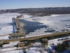 This is a photo of Lock and Dam 11 on the Mississippi River in Dubuque, Iowa.    Photo taken from an overlook at Eagle Point Park on January 20, 2007.