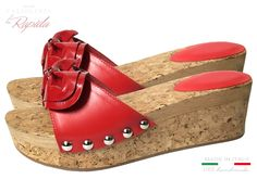Zeppe Donna Rosse in Pelle e Sughero Naturale Estate Cork Wedges, Ciabatta, Estate, Ipod Touch, Shoes, Fashion, Moda, Zapatos, Shoes Outlet