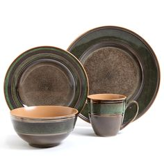 The Marmara Park dinnerware set from Gibson Elite features a contemporary design in earthy brown and green hues. This 16-piece stoneware set serves four and is dishwasher-safe.
