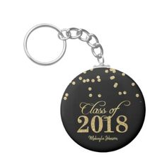 Black & Gold Polka-dots Glitter Class of 2018 Keychain - glitter glamour brilliance sparkle design idea diy elegant
