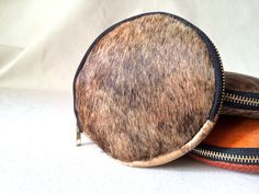 Marbled hair on hide coin purse leather clutch by VitalTemptation