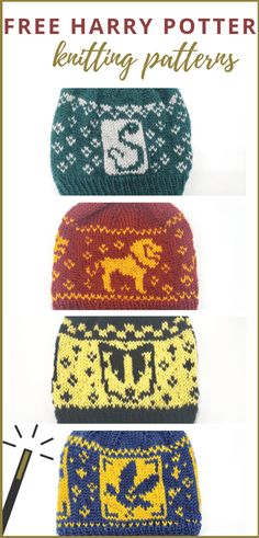 Blending my love for the Harry Potter series with my love for knitting, I've designed four knit hats representing each of the Hogwarts houses. These free Harry Potter knitting patterns are available for any crafter who'd love to rep Gryffindor, Ravenclaw, Double Knitting Patterns, Love Knitting, Baby Knitting, Crochet Patterns, Free Christmas Knitting Patterns, Tricot Harry Potter, Harry Potter Scarf, Slytherin, Baby Set