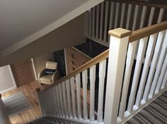 Basic staircase with oak handrail and pine stop chamfered spindles rustic style . Basic staircase with oak handrail and pine stop chamfered spindles rustic style corridor, hallway & Staircase Banister Ideas, Banister Remodel, White Staircase, Staircase Design, Staircases, Bannister, Loft Staircase, Rustic Stairs, Oak Stairs