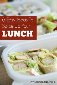 Spice up your lunch life! 6 easy lunch ideas for work instead of the same boring sandwiches. Save money and skip the fast food! | Cents and Order