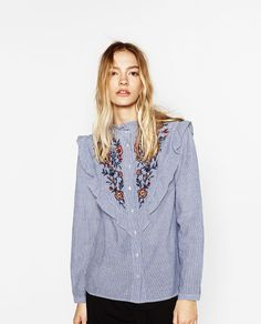 Image 2 of FRILLED AND EMBROIDERED STRIPED SHIRT from Zara