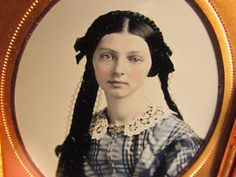 Brooch, headdress with trailing ribbon ends -hand-tinted-Hester-Ann-Hawkins-ambrotype.