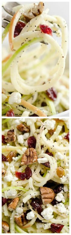 Spiralized Apple Cranberry Salad ~ An easy and healthy recipe made with crunchy apples, cranberries, pecans and goat cheese all tossed in a light Citrus Poppy Seed Dressing... This salad makes for a a deliciously easy side dish or vegetarian entree you will love!