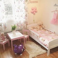 Sister Bedroom, Girls Bedroom, Bedroom Decor, Diy Toddler Bed, Toddler Rooms, Playroom Design, Kids Room Design, Princess Room, Little Girl Rooms