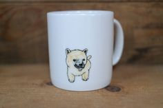 Hand painted animal mug  - Cute mug cup - dog mug cup - coffee mug- Jindo Dog mug by CreativeStoneCera on Etsy