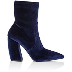 Prada Women's Velvet Ankle Boots (3.355 RON) ❤ liked on Polyvore featuring shoes, boots, ankle booties, ankle boots, chunky heel booties, short boots, chunky heel ankle boots, velvet ankle boots and high heel boots
