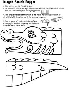 Chinese New Year Dragon Parade Puppet Coloring Page