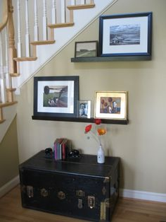 Photo Ledge Display Shelves Design Ideas, Pictures, Remodel, and Decor. Walsh still have your trunk? Photo Ledge, Picture Ledge, Picture Shelves, Picture Frames, Entry Hall, Front Entry, Shelf Design, Wall Design, Back Home