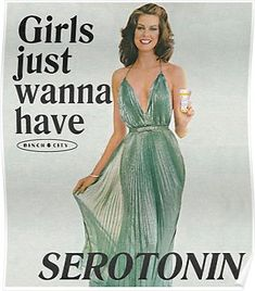 'Girls Just Wanna Have Serotonin' Poster by binchcity Vintage Humor, Vintage Comics, Vintage Stuff, Photo Wall Collage, Collage Art, Retro Aesthetic, Reaction Pictures, Vintage Frames, Wall Prints