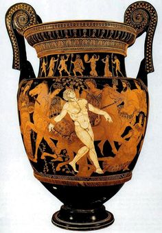 The Death of Talos volute krater from 400 to 395 BC, height 75 cm.TALOS (Talôs). Was a man of brass, a work of Hephaestus. This wonderful being was given to Minos by Zeus or Hephaestus, and watched the island of Crete by walking round the island thrice every day. Whenever he saw strangers approaching, he made himself red - hot in fire, and then embraced the strangers when they landed