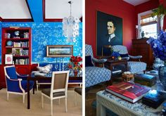 14 Red, White and Blue Rooms with Star-Spangled Style De Gournay Wallpaper, Red Wallpaper, Blue Rooms, Star Spangled, Red Accents, Red Apple, Red White Blue, Traditional Design, Home Interior Design