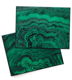 Malachite placemats. Photo from The Pink Pagoda