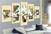 5182 pintado à mão 5 peça decorativa moderna imagem da flor pintura a óleo sobre tela para quarto decoração