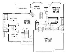 Ranch Traditional House Plan 62625 Level One