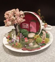 Fairy Garden Cup & Saucer, Cup & Saucer Garden, Miniature Garden, Miniature House, Hand Crafted by Cardinal on the Mantel