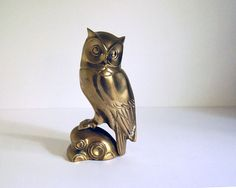 Vintage Brass Owl Figurine Statue Collectibles by CalloohCallay, $52.00