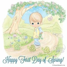 Happy First day of Spring Precious Moments Quotes, Precious Moments Figurines, Spring Wallpaper, First Day Of Spring, Happy Spring, Celebration Quotes, My Precious, Photo Craft, Cute Illustration
