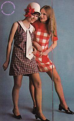 60s fashions mini dress checks tie hat shoe brown white red