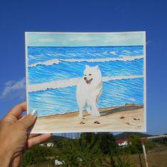 Dog watercolor painting, White Samoyed, Dog at the beach, Sea watercolor, Beach watercolor painting, Tropical art Beach Watercolor, Watercolor Paintings, Handmade Design, Handmade Items, Samoyed Dog, Dog Mom Gifts, Tropical Art, Dog Beach, Mandala Art
