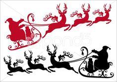 santa with sleigh and reindeer, vector - Иллюстрация   by 5@dustypink