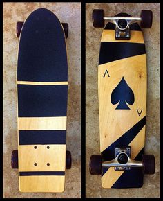 Baltic Birch mini cruiser I made custom for a customer last year #skateboard #cruiser #longboard #skate #diy #aceofspades #custom #make