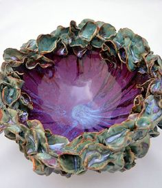 Turquoise & Purple Flower Big Bowl