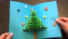 DIY Christmas Tree Craft - Learn to make Christmas tree at home from paper in this crafts tutorial. Handmade Christmas tree is an excellent option for homema. Pop Up Christmas Cards, Christmas Pops, Christmas Origami, Diy Christmas Tree, Pop Up Cards, Christmas Greetings, Handmade Christmas, Christmas Crafts With Kids, Xmas Tree