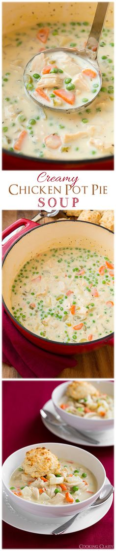 Creamy Chicken Pot Pie Soup with Easy Parmesan Drop Biscuits - this soup tastes just like chicken pot pie in creamy soup form! It's incredibly delicious!!