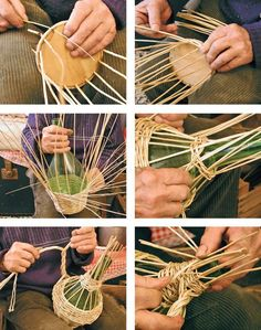 icu ~ See how to make a basket of jute with your own hands. ~ See how to make a basket of jute with your own hands. Diy Arts And Crafts, Crafts For Teens, Diy Crafts To Sell, Weaving Projects, Weaving Art, Rope Basket, Basket Weaving, Rustic Flower Girls, Willow Weaving