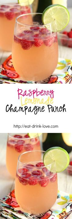 Raspberry Lemonade Champagne Punch - This delicious fruity champagne punch is perfect for parties! Made with raspberry lemonade, champagne, vodka, and ginger ale! Vodka Drinks, Non Alcoholic Drinks, Party Drinks, Cocktail Drinks, Yummy Drinks, Cocktail Recipes, Drinks Alcohol, Champagne Drinks, Fruit Drinks