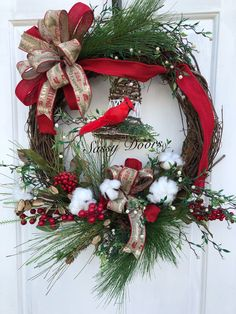 Woodland Christmas Wreath, Rustic Christmas Wreath, Cabin Christmas, Christmas Front Door Wreath, Farmhouse Christmas, Grapevine Wreath, Sassy Door Wreath Designed on a 18 grapevine wreath adorned with lush pine needle greenery, snowberries and red berries. The focal point is a lovely woodland Chr
