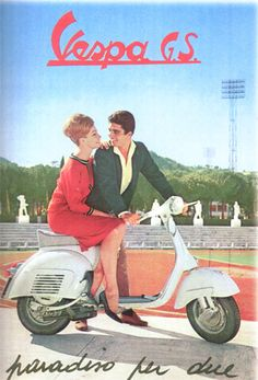 Vespa is an Italian brand of scooter manufactured by Piaggio. The name means wasp in Italian. The Vespa has evolved from a single model mo. Piaggio Vespa, Vespa Scooters, Motos Vespa, Moto Scooter, Lambretta, Scooter Garage, Vespa Vintage, Motos Vintage, Vintage Ads