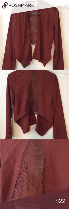 LUSH Drapey Blazer w/ Sheer Cutout in Back, size S This is such a beautiful blazer! It's 100% tensel so a very soft, drapey, buttery fabric. Gorgeous maroon color, buttons on bottom of sleeves. Shorter in the back with longer edges in the front, and the back has a cool cutout shape with sheer fabric and thread detailing. BEAUTIFUL! Lush Jackets & Coats Blazers