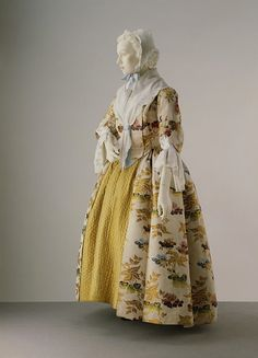 """Formal day dress, ca 1735 England (Spitalfields) (altered 1740's and 1780's), the Victoria and Albert Museum """" By the 1730s the open robe was beginning to replace the mantua as formal day wear. The..."""