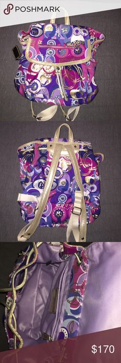 Cute and fun little Coach Poppy back pack! I love this backpack! The colors are so fun! It's been used very little! In Great Condition! Coach Bags Backpacks